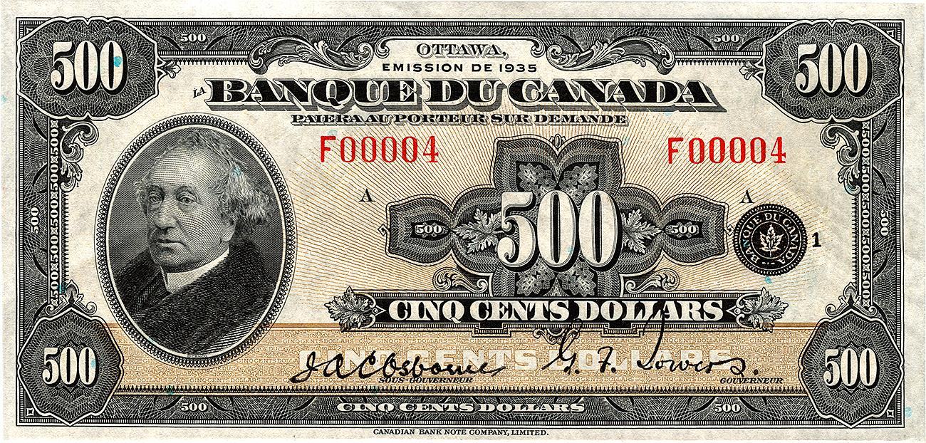 pale brown bank note in French with portrait of Sir John A. MacDonald