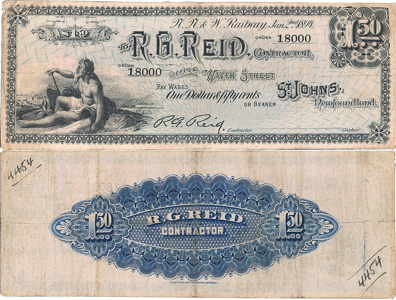 "old note with ""R. G. Reid"" and allegory of labour and blue back pattern"