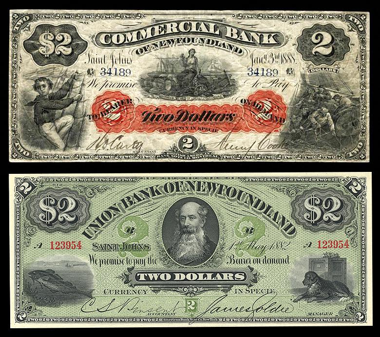 old bank notes showing 19th century man in beard, a dog, sailor and a codfish