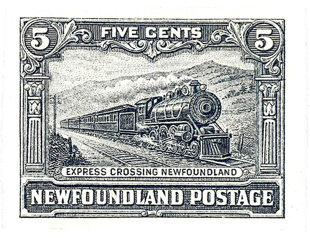 old Newfoundland stamp showing a steam train