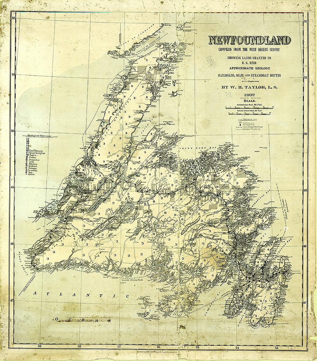 hand-drawn, antique map of Newfoundland