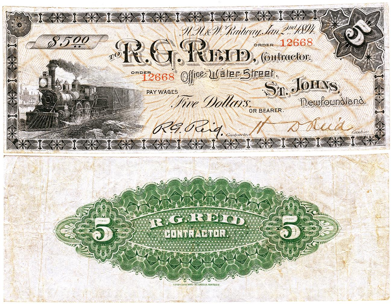 old company note with steam engine and green back pattern