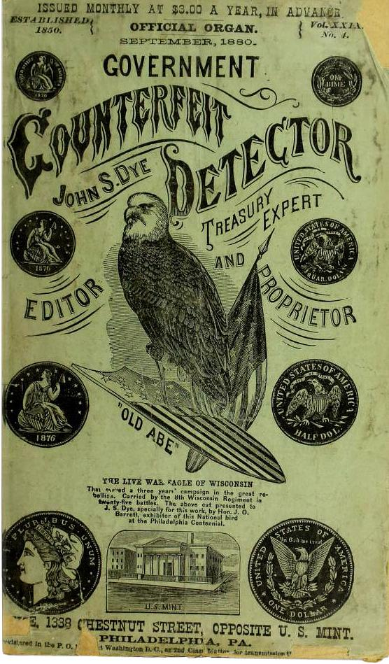 green, 19th-century booklet with an eagle illustration