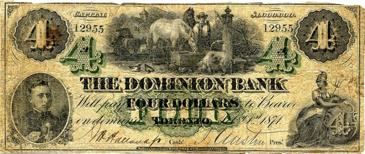 well-used, yellowed bank note