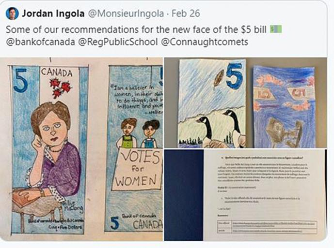 tweet showing children's hand-drawn bank notes