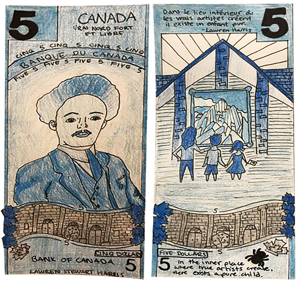 illustration, 5 dollar bill model with pencil crayon sketches of L.S. Harris and of an art gallery