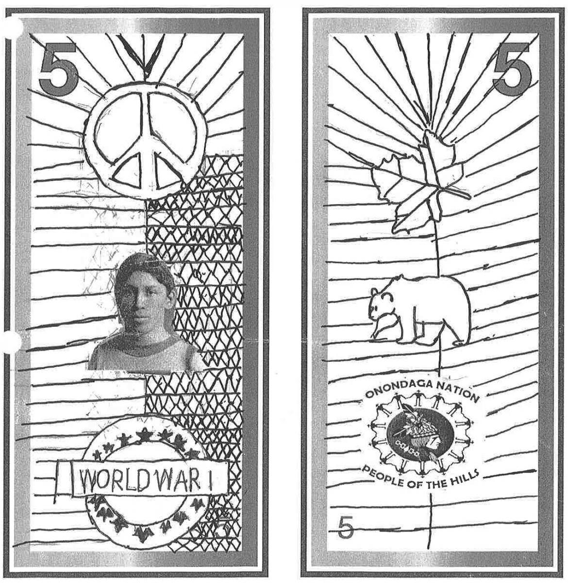 illustration, 5 dollar bill model showing a photo of a young man and pencil-sketched Indigenous symbols