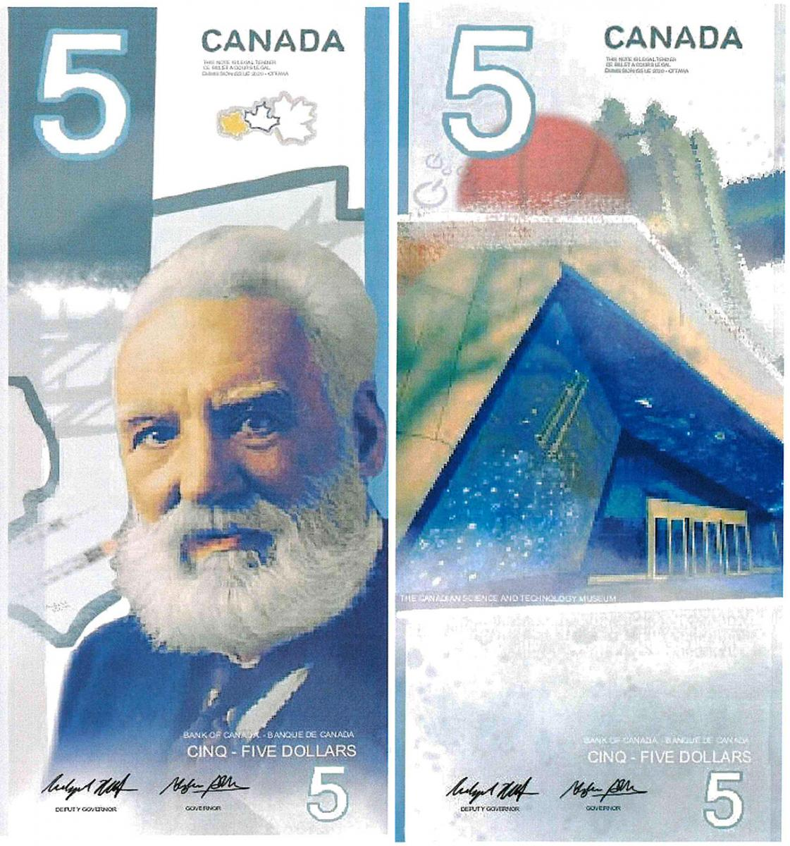 illustration, 5 dollar bill model featuring a museum entrance and Alexander Graham Bell