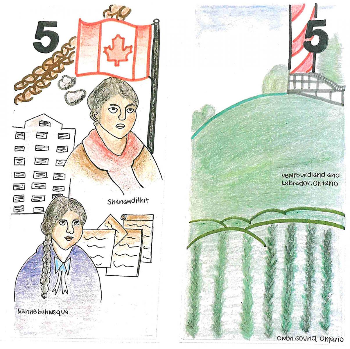 illustration, 5  dollar bill model with coloured pencil sketches of two women and landscapes