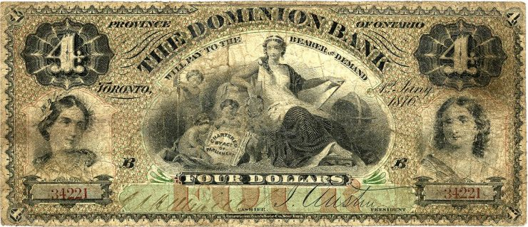 old bank note with a busy, detailed design