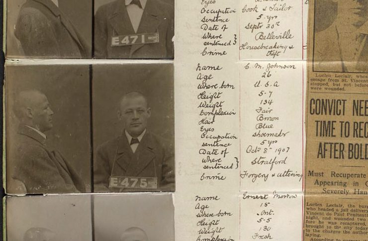 faded old mugshot with hand-written information