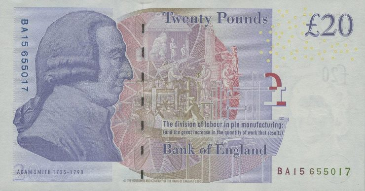 Bank note with an 18th-century gentleman's profile printed in purple ink.