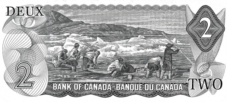 Black and white print of engraved image of Inuit hunting party.
