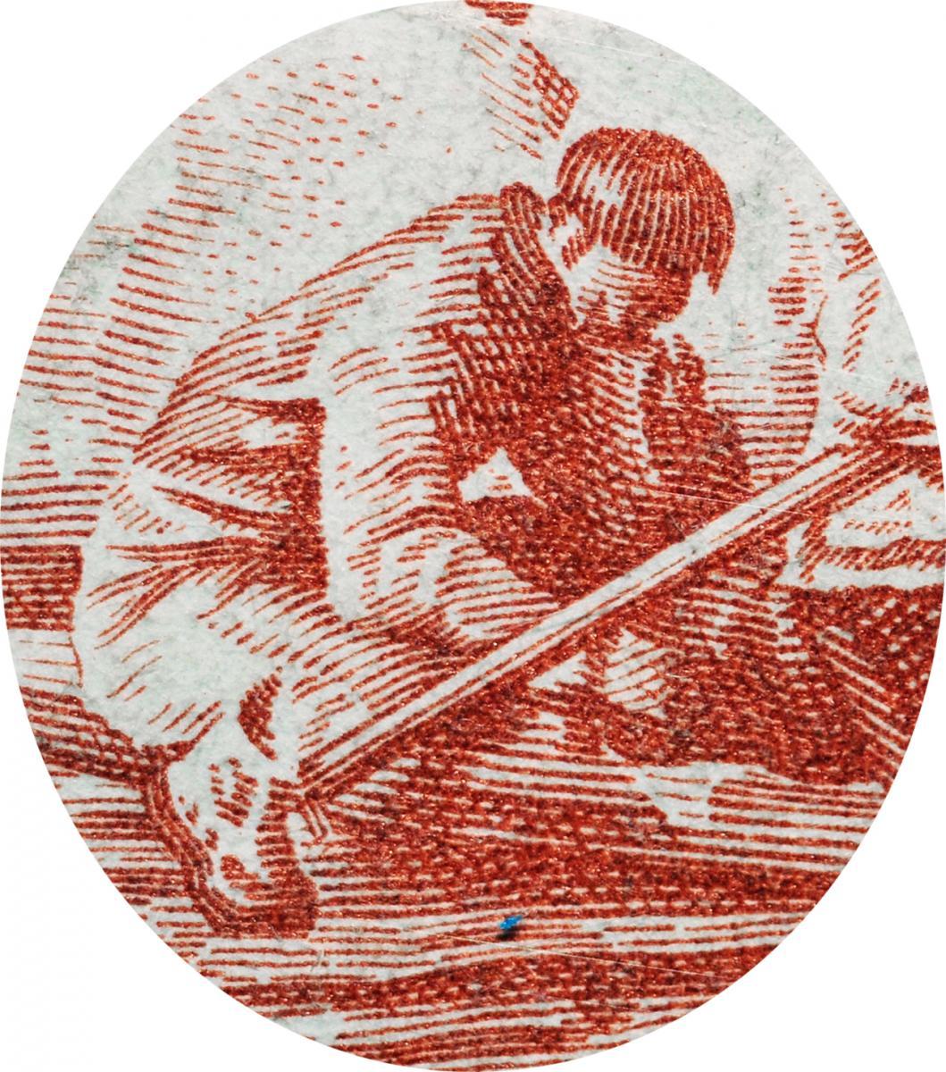 Engraving of man bent over a kayak.