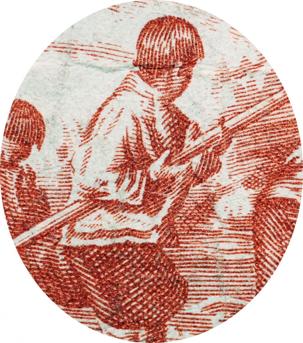 Engraving of man holding a harpoon.