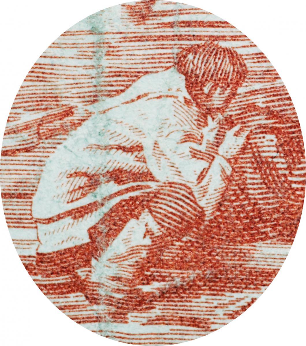 Engraving of man squatting by a kayak.