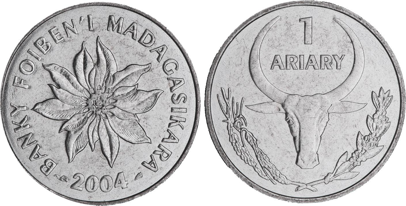 Two sides of a coin showing a buffalo with tall, curving horns and a flower.