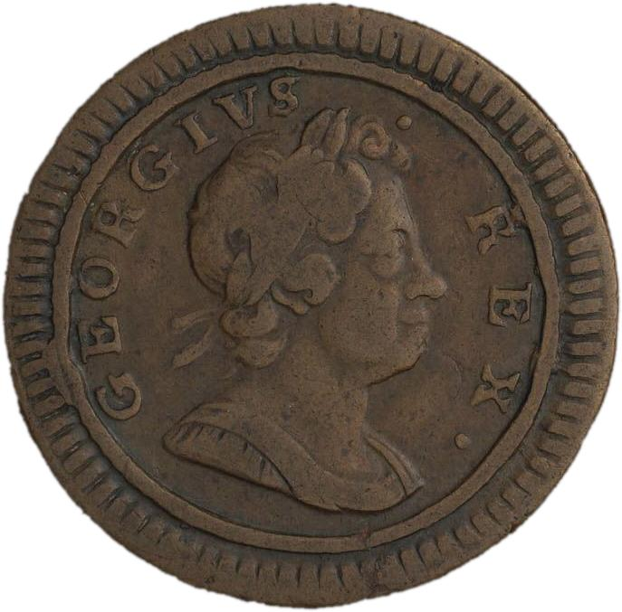 Copper coin with a profile of a king wearing a laurel wreath in his hair.