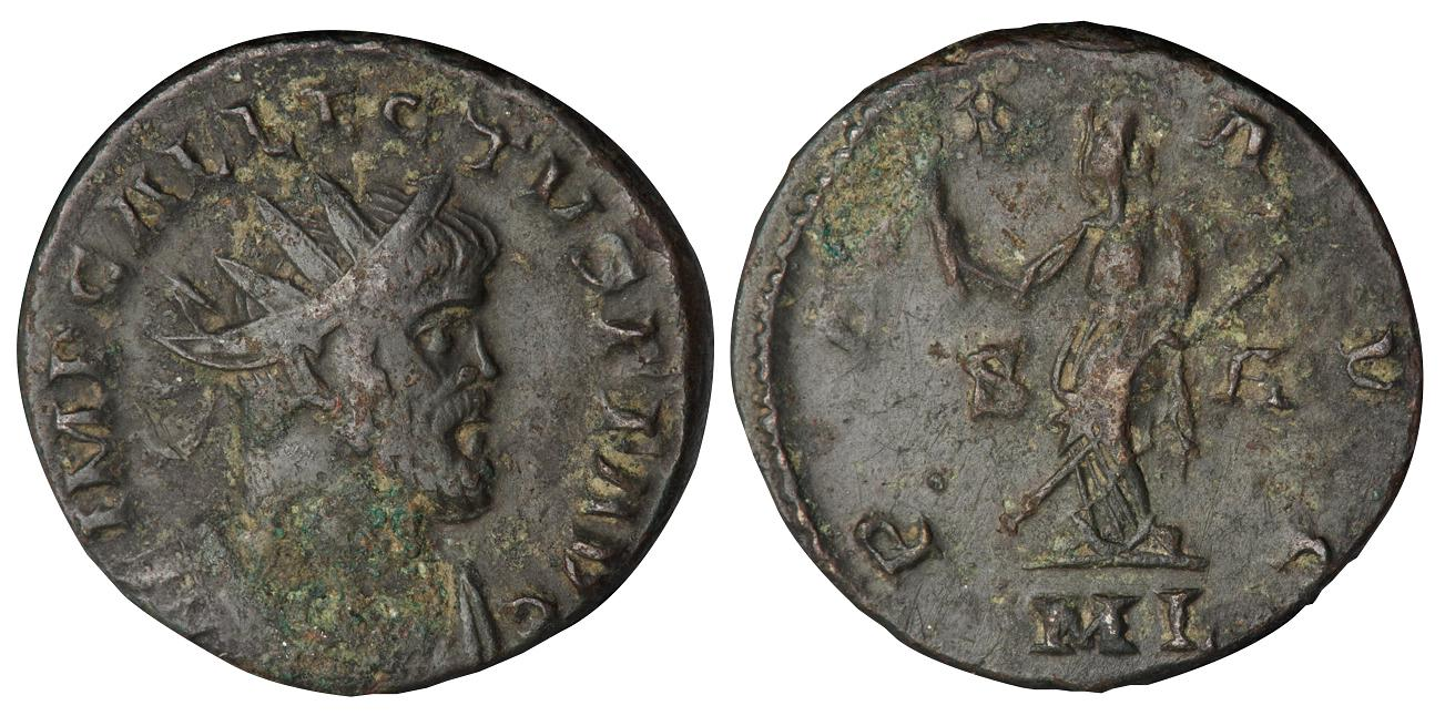 A thick coin with a bearded emperor on one side and a goddess on the other.