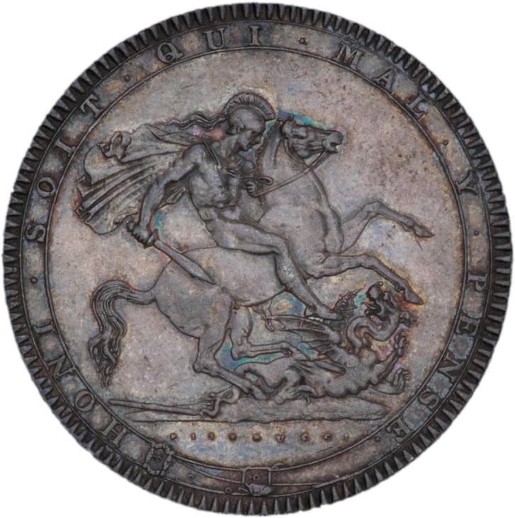 Silver coin with an image of a warrior angel killing a dragon.