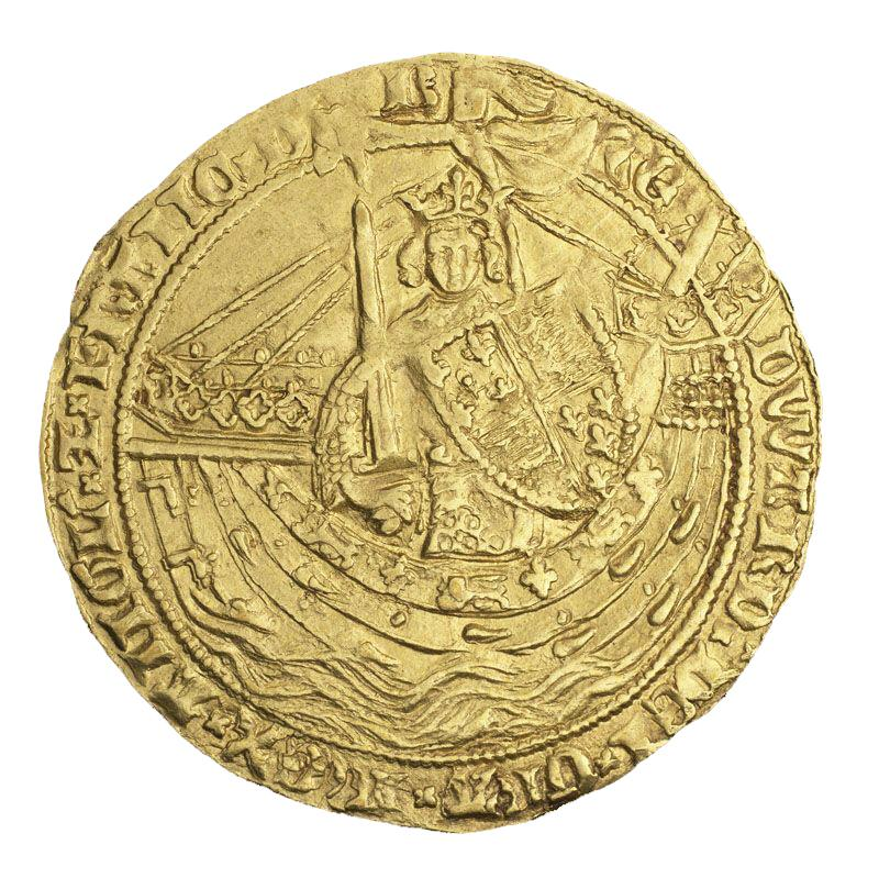 Roughly struck gold coin with a crowned and armed king aboard a ship.