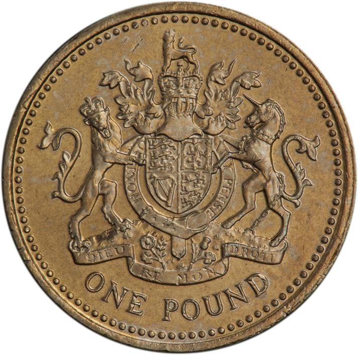 Gold-coloured coin featuring the UK coat of arms with a lion and a unicorn.
