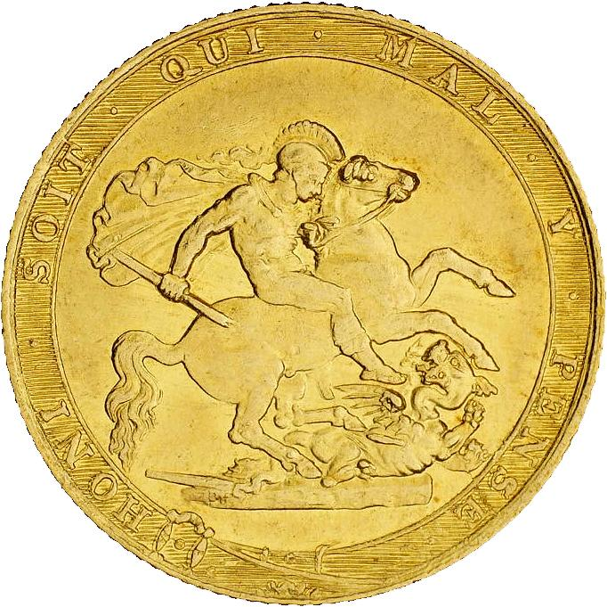Shiny gold coin featuring a warrior angel slaying a dragon.