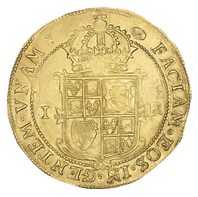 Gold coin with a crowned shield of Scottish, English and Irish symbols.