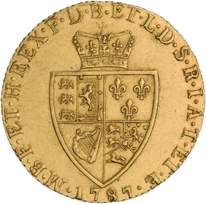 Dull, gold coin with a British coat of arms topped by a crown.