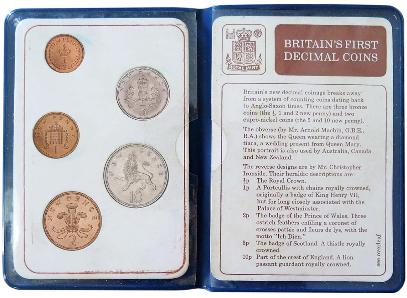Folder open to show five various coins on the left and their story on the right.