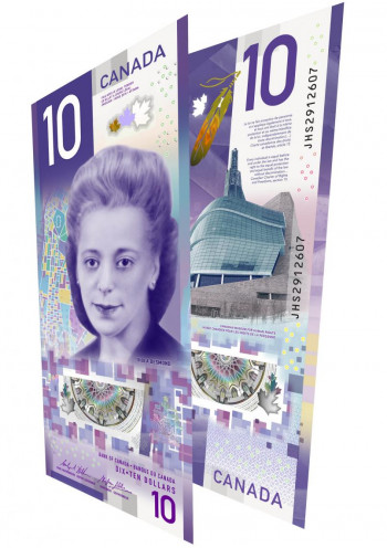 A purple bank note of vertical design with a large portrait of a young woman on it.