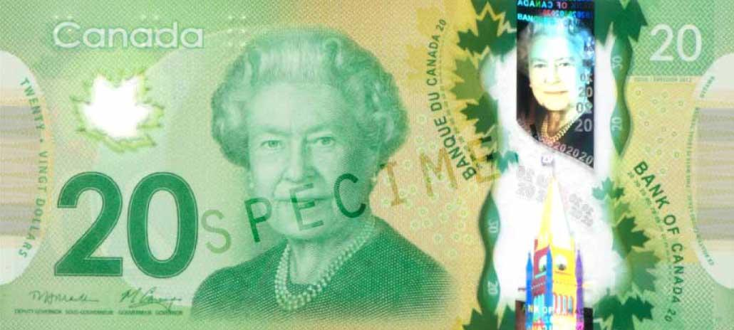 Modern bank note in green with a large engraving of Queen Elizabeth II.