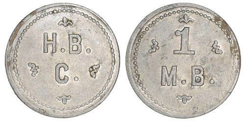 "A grey metal token with ""H.B.C."" on one side and ""1 M.B."" on the other."