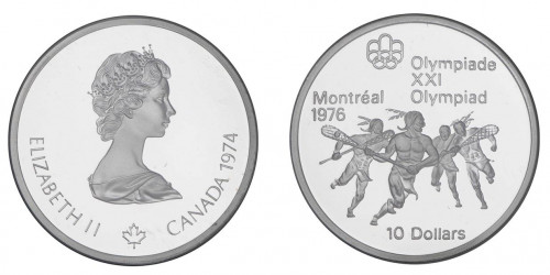 Both sides of the Olympic silver coin with Queen Elizabeth II on one side and men playing lacrosse on the other.