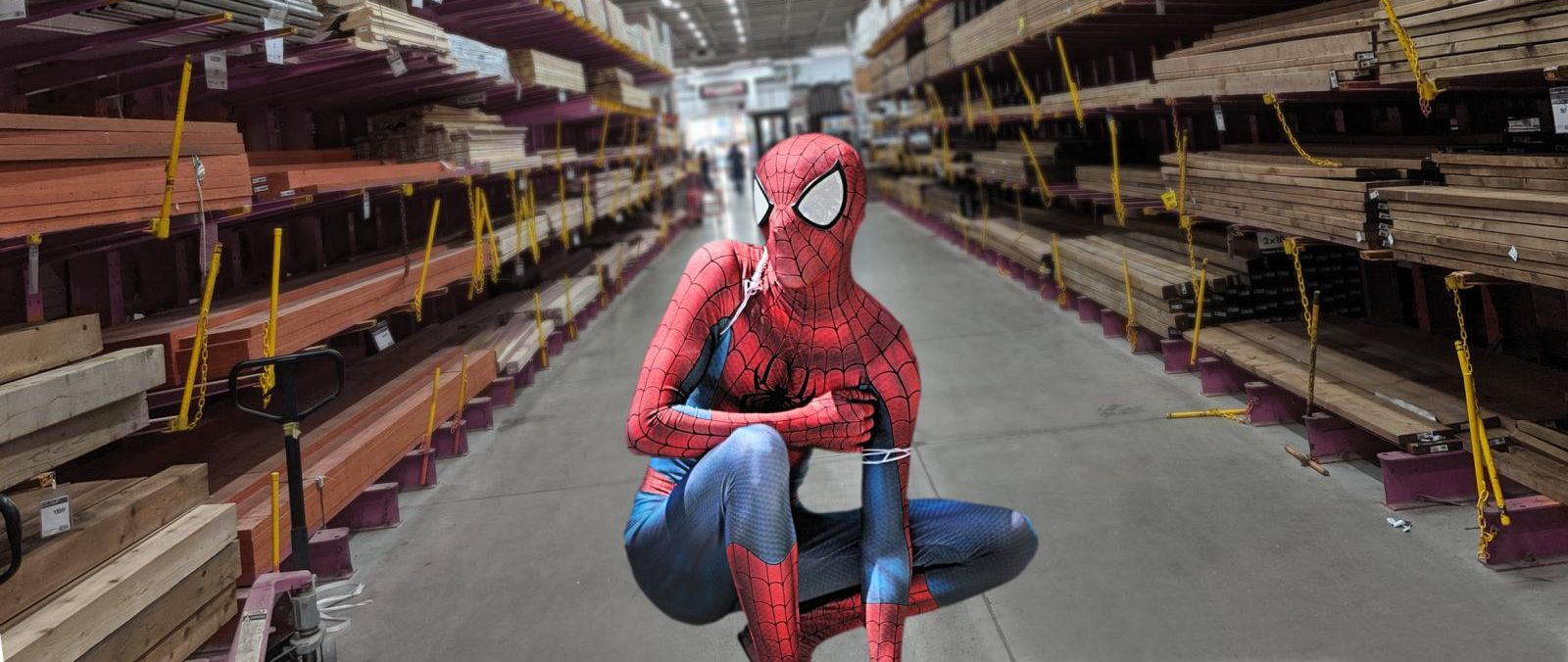 Man in a superhero costume crouching in an aisle of a home renovation warehouse.
