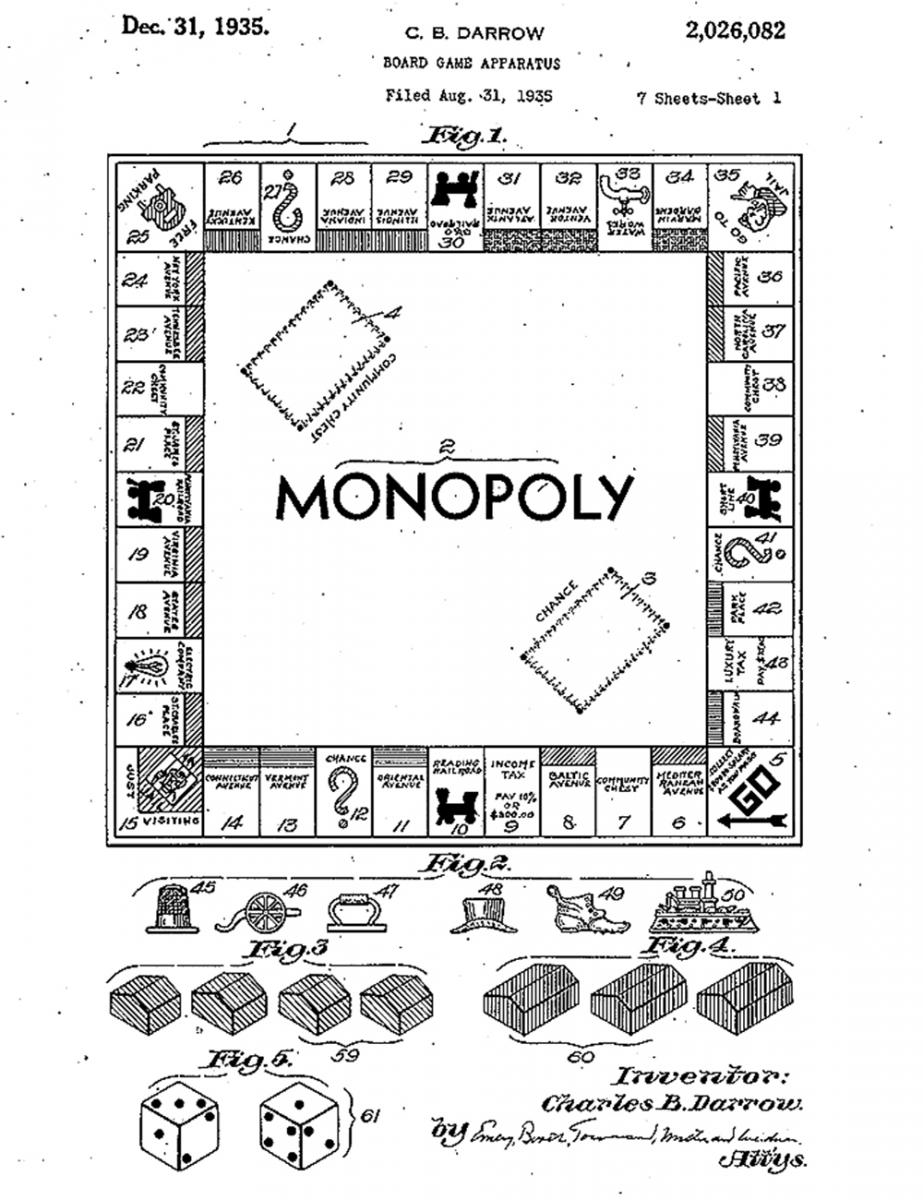 Illustration of a board game featuring real estate locations alongside playing pieces and cards.