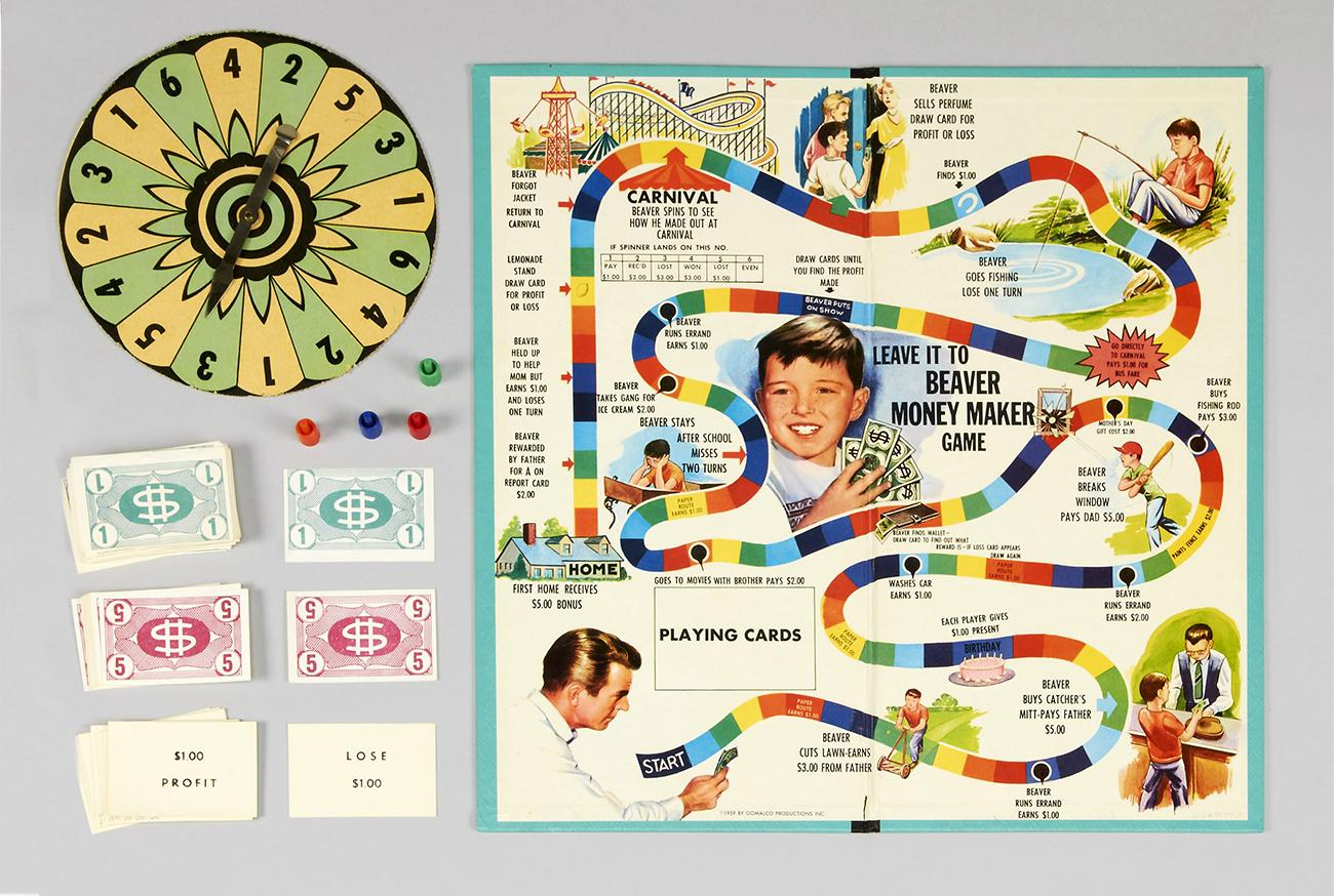 Game board with a colourful track and illustrations of a 1950s teen in many adventures