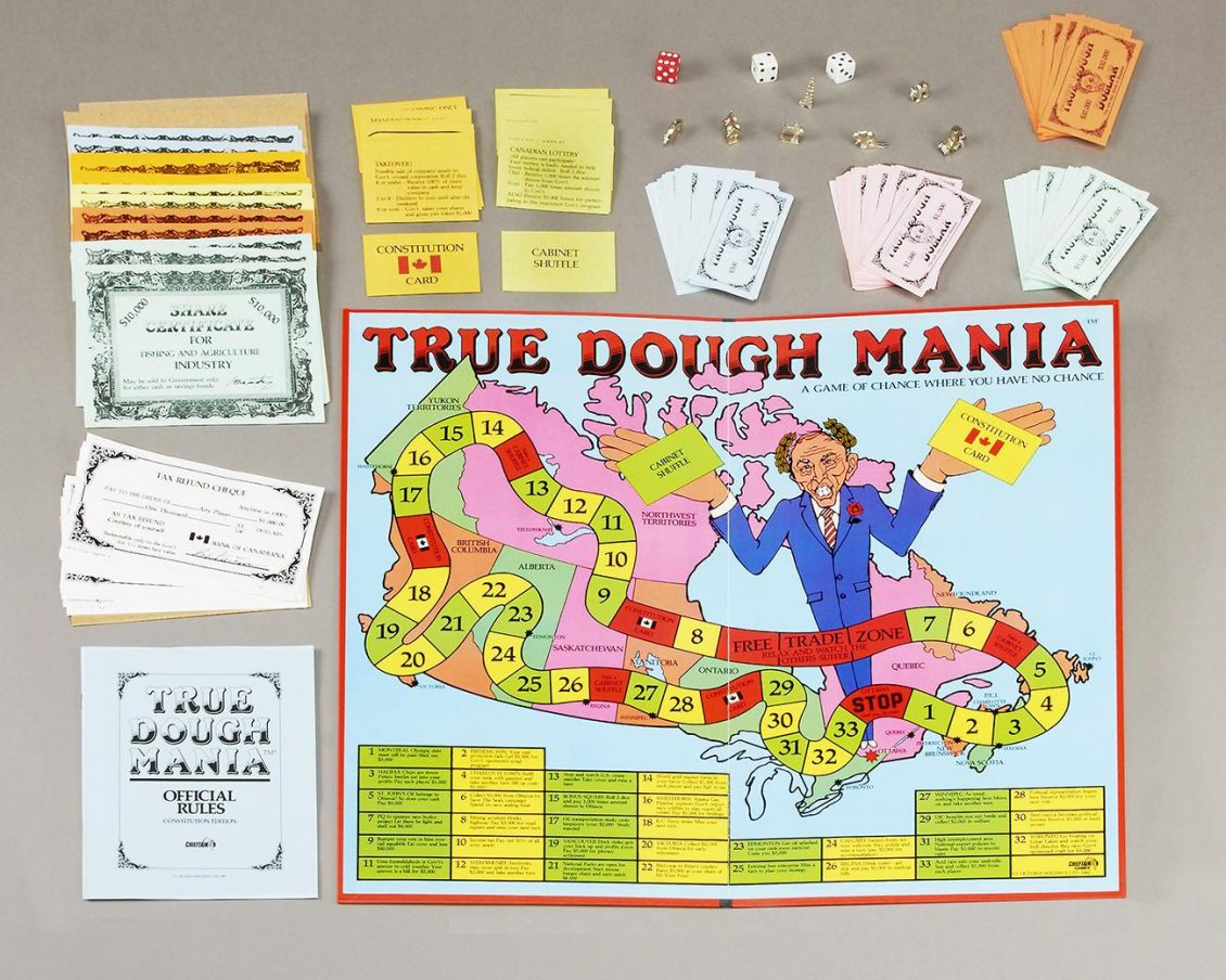 A game board featuring a colourful track across Canada and a cartoon prime minister.