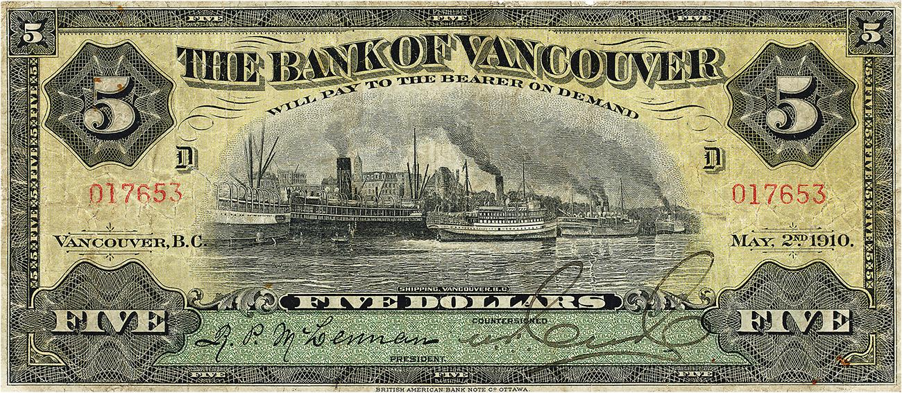 Bank note, yellow, with a smoke-filled harbour full of steamboats and industry.