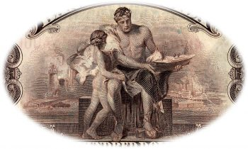 Bank note engraving, man and boy in classical Greek and Roman style with backdrop of industry.