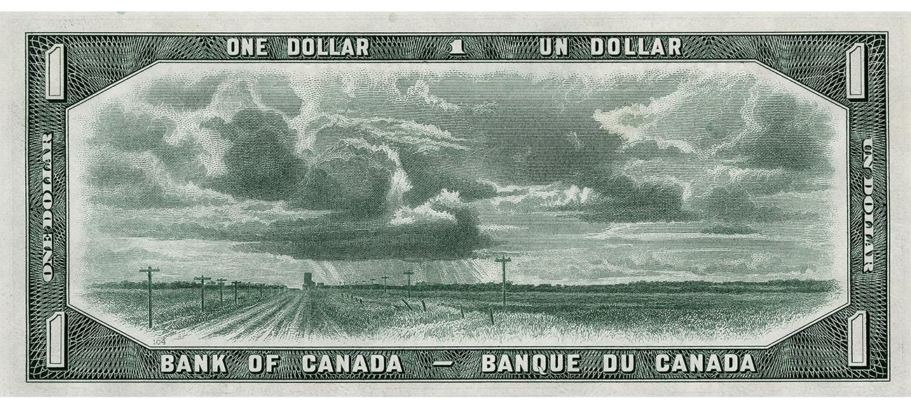 Bank note, green, prairie scene of cloud-filled sky, flat fields and road with telephone pols.