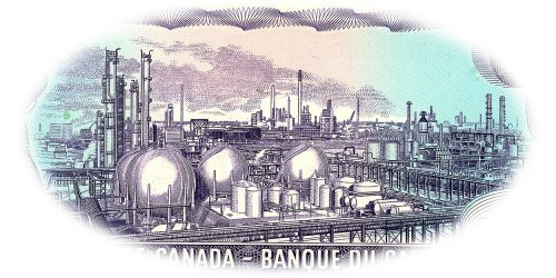 Bank note engraving, purple, a large, highly detailed factory complex of pipes, tanks and chimneys.