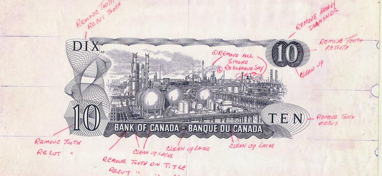 Bank note, back image portion, factory complex of pipes, tanks and chimneys with written comments.