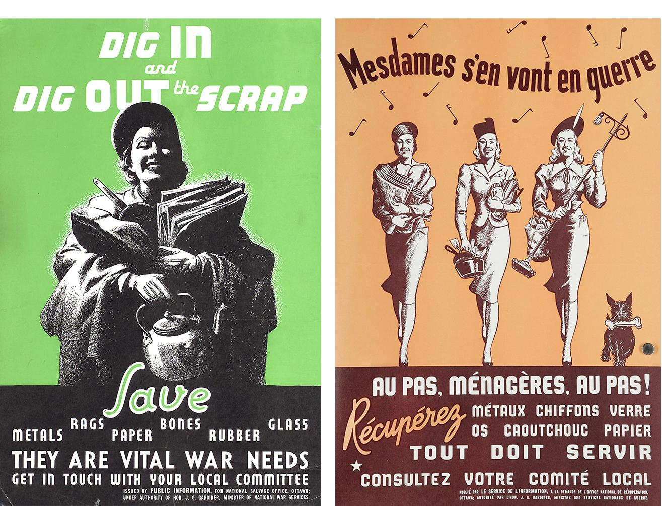Posters, one French, one English, both featuring women carrying old household items and paper.