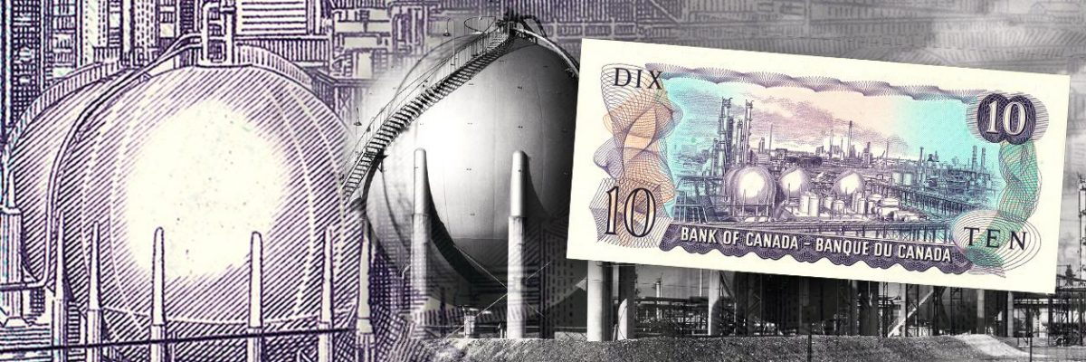 Collage, bank note with factory complex, details of engraving, and photograph of complex.