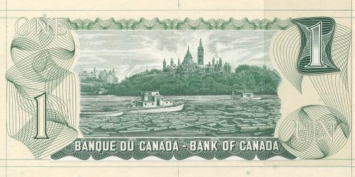 Bank note engraving, green, logs and 2 boats on a river in front of a tree-covered hill with towers.