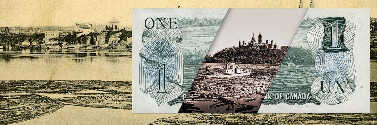 Collage, 2 photos and a one-dollar bill, images of logs on a river.
