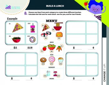 Document, form, 4 grids alongside images of lunch items with prices.