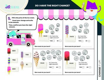 Document, form, images of coins in different combinations along with ice cream treats and empty spaces.