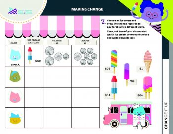 Document, form, grid, images of coins with ice cream treats and their values.